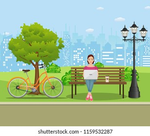 Young woman works in park with computer on bench under tree. Freelance lifestyle. Vector illustration in flat style