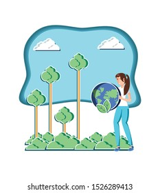 young woman with world in eco friendly scene vector illustration design