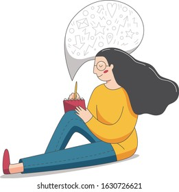 A young woman writing in her notebook. A girl sitting and taking notes. Vector illustration of a storytelling.