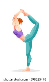Young woman in yoga pose. Cartoon fitness character. Decorative Isolated vector illustration.