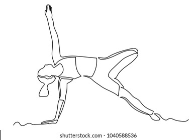 A young woman in a yoga pose pulls her arm up. Charging. One line drawing isolated vector object by hand on a white background.