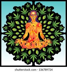 Young woman yogini made of fire meditates inside an marijuana leaves tree vector illustration