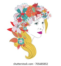 Young woman's face with long blond hair and purple lipstick and beautiful colorful floral wreath with red leaves. Vector illustration on white background