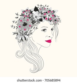 Young woman's face with long hair and pink lipstick and beautiful floral wreath with heart leaves. Vector illustration on light yellow background