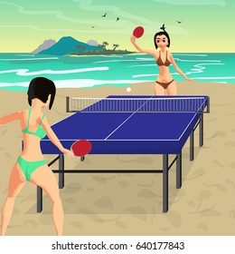 Young women in bikini play on the beach in table tennis. Girls in swimsuits with ping-pong rackets. Flat vector illustration