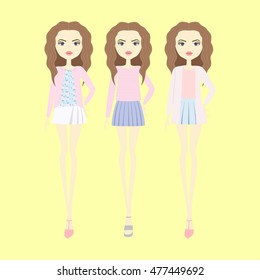 young women in casual clothes. Girl in fashionable clothes. make-up hairstyle. shorts. top. blouse. skirt. footwear.