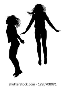 Young women are dancing in a nightclub. Isolated silhouettes on white background
