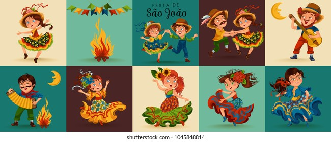 Young women dancing salsa on festivals celebrated in Brazil Festa Junina, man play on sanfona near bonfire traditional fiesta dance, holiday party dancer, festive people carnaval vector illustration