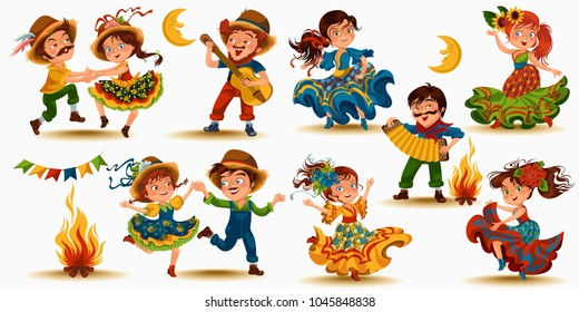 Young women dancing salsa on festivals celebrated in Portugal Festa de Sao Joao, man play on sanfona near bonfire traditional fiesta dance, holiday party dancer, festive people carnaval vector