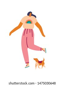 Young women with dog pet beagle running in the park. Human and puppy friendship illustration in vector.