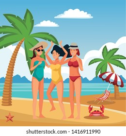 Young women enjoying summer in swimsuit cartoons in beach at sunny day scenery vector illustration