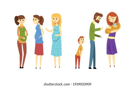 Young Women Expecting Babies Set, Pregnant Women Talking to Each Other, Family Couple with Newborn Baby Cartoon Vector Illustration