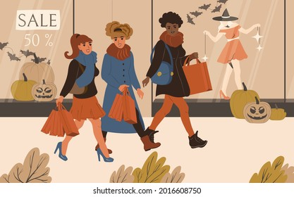 Young women friendship shopping together at the Halloween sale. Shopaholics walk near the windows of a clothing store with big discounts. Flat vector illustration