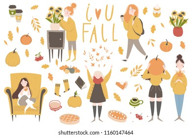 Young women or girls dressed in cozy clothes. Autumn sticker collection. Set of cute autumn cartoon illustrations. Fall season. Collection of scrapbook elements for party, fall