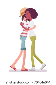 Young women giving a hug. Neighbor or colleague loving embrace, sense of personal safety. Human interaction concept. Vector flat style cartoon illustration, isolated, white background