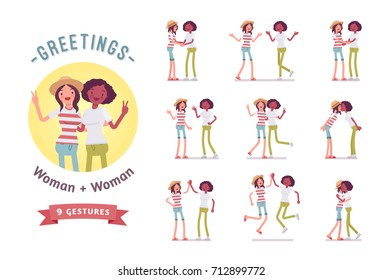 Young women greeting ready-to-use character set. Various poses, emotions, standing, fist bump, hug. Full length, front, rear view isolated, white background. Human interaction concept.