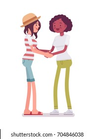 Young women handshaking. Regard a friend with affection, trust, and respect. Human interaction concept. Vector flat style cartoon illustration, isolated, white background