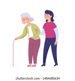 young women holding the arms of an old mother walking with a cane, young women helping voluntary elderly women who have difficulty walking