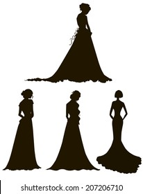 young women in long dresses silhouettes. Brides. Outline. Vector illustration.