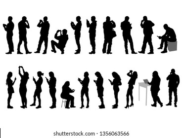 Young women and men with phone on a white background