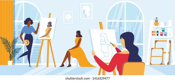 Young Women Painting Girl Model Sitting on Chair Posing for Creative Workshop in Large Classroom. Artists Characters Drawing on Canvas at Easel during Art Class Hobby, Cartoon Flat Vector Illustration