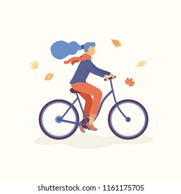 Young Women riding a bicycle in the park, falling leaves are flying around. Autumn concept Vector flat illustration.