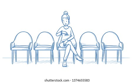 Young women sitting alone in a waiting room, looking at her watch. Four chairs are empty. Hand drawn line art cartoon vector illustration.