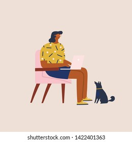 Young women sitting in a chair work on laptop at home or modern coworking space with dog. Freelancer working online illustration in vector.