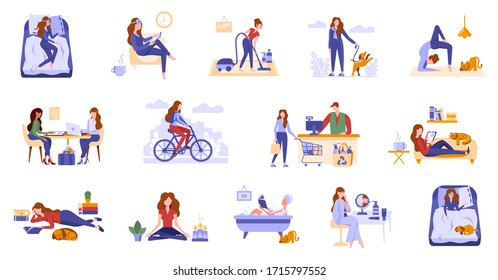 Young women spend leisure time, take care of herself. Daily routine, life scenes, everyday activities of a woman. Girls sleep, take bath, work, do sport, shopping, do hobbies, cleaning, surf internet