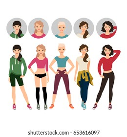 Young women in sport clothes vector illustration with face avatar icons vector set