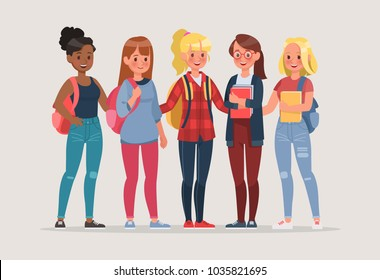 young women student character vector design