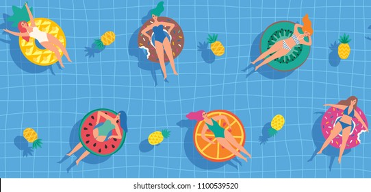 Young women swimming in the pool on rubber rings. Seamless pattern. Vector illustration.