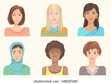 Young women of various nationalities. Girls of different ethnic and races. Various skin color, eyes and hairstyle. International portraits. Set of vector avatars.