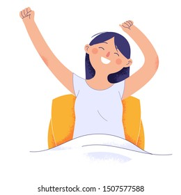 young women wake up in the morning feeling happy and excited, women on mattresses raise their hands with happy faces, facial expressions of happy and feeling healthy women