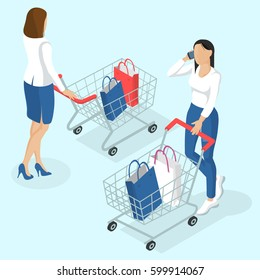 Young women walking with shopping cart. Back view. Isometric 3d flat design vector people different characters, styles and professions, full length diverse acting poses collection.