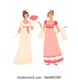 Young women wearing retro dresses in 19th century style. Beautiful female characters in elegant clothes at the ball. Flat vector cartoon illustration isolated on white