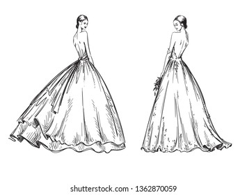 young women wearing wedding dresses. Bridal look fashion illustration