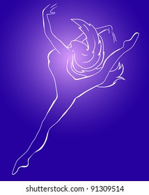 a young wonderful ballerina is dancing gracefully. Vector.