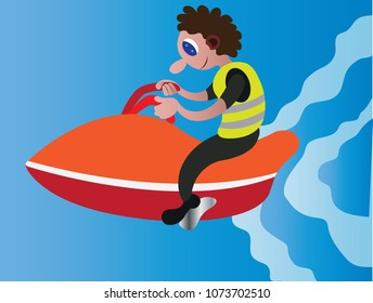 a youngster enjoying himself on a jet ski