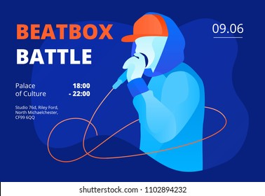 Youngster in snapback and hoodie performing beatbox. Colorful beatbox battle vector illustration for banner, flyer, poster templates on deep blue background.