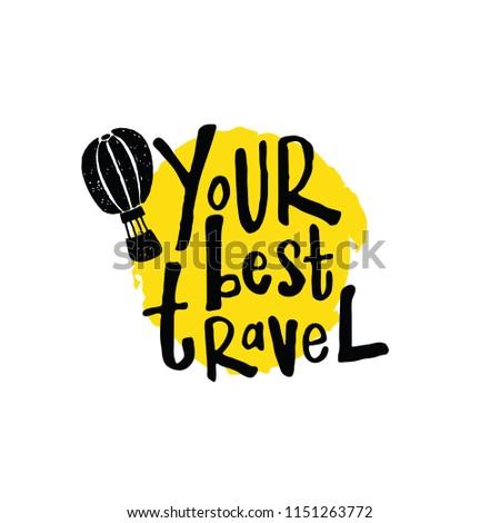 Your Best Travel Lettering Poster Hand เวกเตอร์สต็อก (ปลอดค่า
