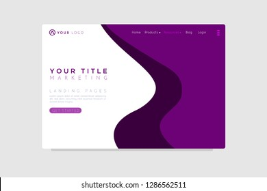 Your Marketing concept. astract shapes flying above surface. Landing page template. Vector illustration. - Vector