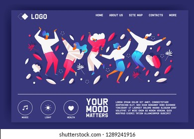 Your mood matters. Landing page with dancing people in bright gradients on blue color. Greenery and dots design template for music service or psychologist online website