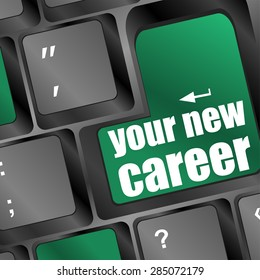 your new career button on computer keyboard key vector
