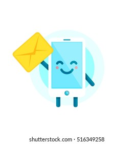 Your smartphone friend have a message for you. Vector flat illustration icon cartoon phone character. Isolated on white background. Message letter send on mobile phone.
