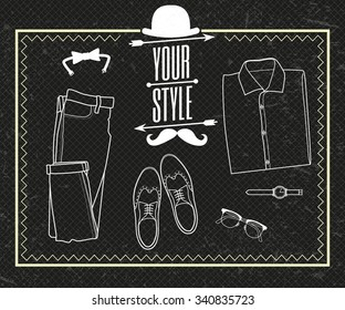 Your style. Outfit of fashion set for modern young person. Vector illustration.