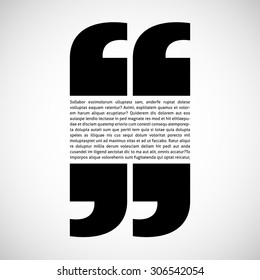 Your text with quotation marks isolated on white background. Eps 10 vector illustration