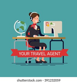 Your travel agent vector concept background in flat design. Travel agency office worker friendly smiling behind desk with headset on. Personal travel agent service, tour booking