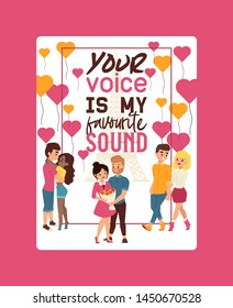 Your voice is my favourite sound poster vector illustration. Couple of young people walking together with Eiffel tower on background. Man presenting bunch of flowers to woman.