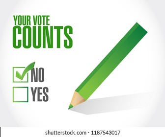 Your vote counts approval check  mark message concept illustration isolated over a white background